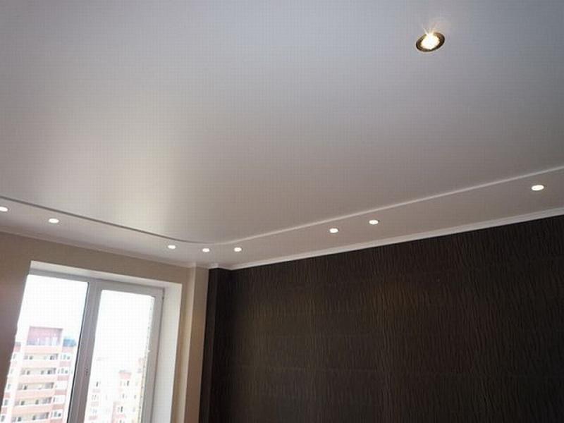 Фото - Сатиновый двухуровневый натяжной потолок